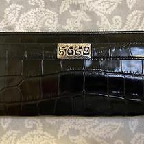 Brighton Black Leather Croc Embossed Zip Around Clutch Wallet 4 X 8 Photo