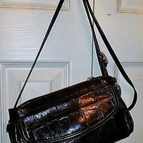 Brighton Black Leather Croc/reptile Embossed Crossbody Bag Purse/wallet Gorgeous Photo