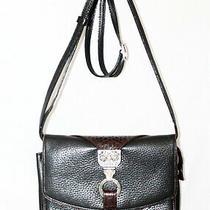 Brighton Black Leather Crossbody Organizer Clutch Wallet Bag W/ Brown Croco Trim Photo
