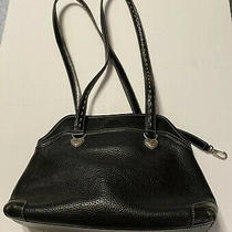 Brighton Black Leather Double Handle Purse Shoulder Bag Heart Silver Hardware Photo