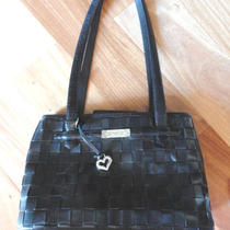Brighton Black Leather Handbag Basket Weave Design & Pebble Grain  Db Photo