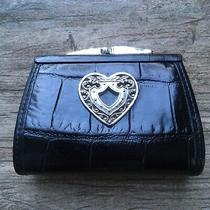 Brighton  Black Leather & Heart Coin Purse  Clasp / Clutch  Mock Croc Photo