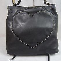 Brighton Black Leather Heart Quilt Messenger Crossbody Bag Purse C797694 Photo