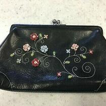 Brighton Black Leather Kisslock Clutch With Raised Flowers & Matching Mirror Photo