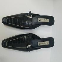 Brighton Black Leather Mules Buckle Us Size 8 Photo