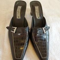 Brighton Black Leather Mules Shoes Snip Toe Silver Buckle Croc Slip on 8.5m  Photo