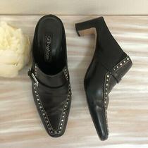 Brighton Black Leather Mules Size 8 Photo