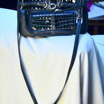 Brighton Black Leather/patent Leather Croc Trim Messenger X Body Medium Bag Photo
