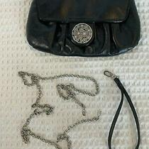 Brighton Black Leather Purse Clutch Wristlet Silver Chain Shoulder Strap Photo