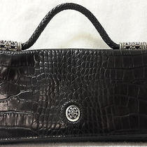 Brighton Black Leather Purse Embossed Leather Small Photo