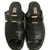 Brighton Black Leather Silver Trim Sandal Slide Shoes Low Heel Sz 8m Good Cond Photo