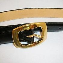 Brighton Black Leather Size S  Gold-Tone Hinged Buckle Belt 25