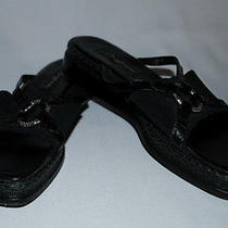 Brighton Black Leather Spandex Wedge Slides Sandals Womens Shoes Jeweled 7m Photo