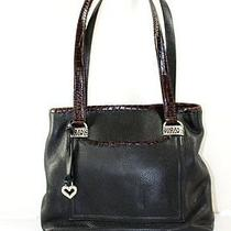 Brighton Black Leather Trim Leather Medium Handbag Photo