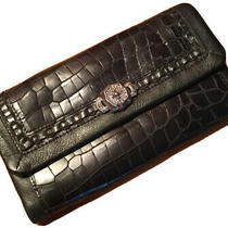 Brighton Black Leather Wallet Clutch Credit Card/ Check Holder Zip Change Pocket Photo
