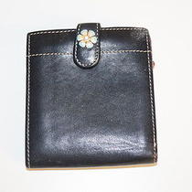 Brighton Black  Leather Wallet W/ Stitched Heart Detail and Flower Snap B.533 Photo