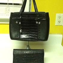 Brighton Black Leather With Black/croc Trim With Black Leather Organizer  Combo Photo