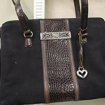 Brighton Black Microfiber and Brown Letter Purse Photo