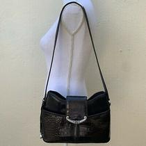 Brighton Black Moc-Croc Patent Leather Hobo Shoulder Bag Strap Photo