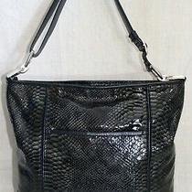 Brighton Black Moc Python Snake Print Leather Shoulder Crossbody Bucket Handbag Photo