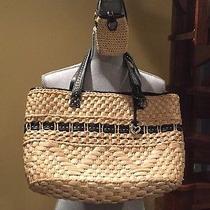 Brighton Black Natural Straw Handbag With Gift Nr Photo