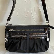 Brighton Black Nylon Croc Embossed Patent Leather Trim Crossbody Bag Photo