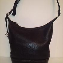 Brighton Black on Black Pebbled Black Croc Leather Bucket Shoulder Bag Photo