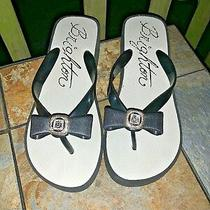 Brighton Black Onyx Yurman Gem Stone Bow Sandals Flip Flop Women Shoes Sz 8 B6 Photo