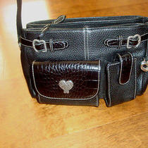 Brighton Black Organizer Handbag W/cell Phone & Card Slot on the Front Purse Bag Photo