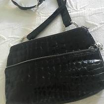 Brighton Black Patent Leather Croc Crossbody Mini Bag Organizer Photo