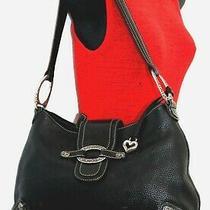 Brighton Black Pebble Leather Vintage Silver Heart Shoulder Handbag  Photo