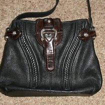 Brighton Black Pebbled and Brown Croc Leather Crossbody Bag Photo