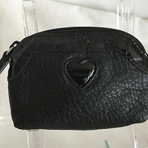 Brighton Black Pebbled and Mock Croc Embossed Leather Coin Purse - Nwot Photo
