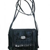 Brighton Black Pebbled Leather and Croc Crossbody Organizer Bag Wallet Photo