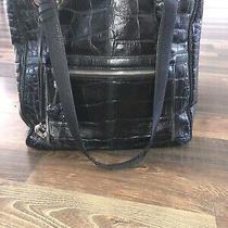 Brighton Black Pebbled Leather Black Croc Embossed Hobo Shoulder Bag E925883 Photo