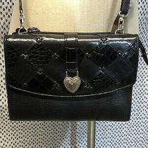 Brighton Black Pebbled Leather Wallet Crossbody Shoulder Bag Purse Vtg Photo