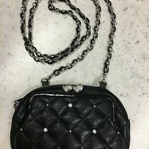 Brighton Black Pretty Tough Small Purse Heart Kisslock Coin Leather/chain Strap Photo