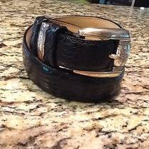 Brighton Black Reptile Embossed Leather Belt Silver Tone Buckle and Keeper Sz L Photo