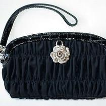 Brighton Black Ruched Microfiber Wristlet Pouch - Leather Trim Nwt Photo