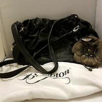 Brighton Black Shana Pebbled Leather Hobo Shoulder Bag W. Flower Coin Purse. Photo