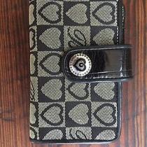 Brighton Black Small  Signature Logo Jaquard Fabric Leather Croco Slim Wallet Photo