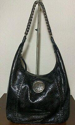 BRIGHTON Black Snake Embossed Patent Leather Shoulder Hobo Shopper Bag Purse Photo