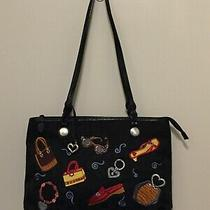 Brighton Black Tote Handbag Purse Embroidered Purses Shoes Glasses Jewelry Photo