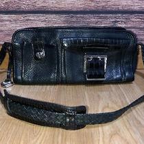 Brighton Black Vintage Pebbled Leather Shoulder Bag Purse Basket Weave Croc Photo