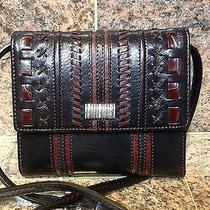 Brighton Black W/brown Details Genuine Leather Wallet New Photo