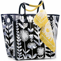 Brighton Black/white Flowers Vera Garden Vinyl Xl Tote W/yellow Scarf New in Box Photo