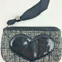 Brighton Black White Tweed Coin Clutch Purse Patent Heart Silver Studs Photo