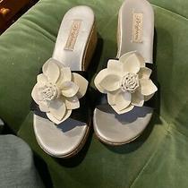 Brighton Black With White Flower Cork Bottom Platform Sandal 10 Photo
