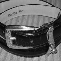 Brighton Black Womens Belt Size M 30 With Golf Bag and Charms Ball Club & Shoe Photo