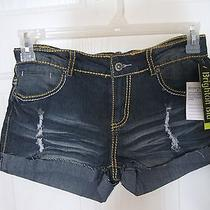 Brighton Blu Roll Cuff Stretch Denim Shorts With Bling Size 9 Slight Flaw F-16 Photo